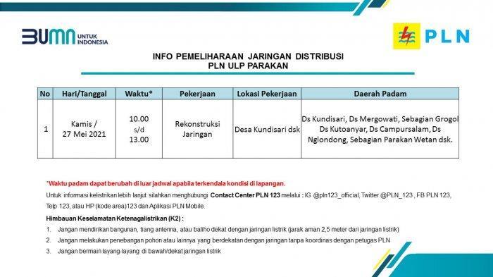 Info Pemeliharaan Jaringan Listrik PLN ULP Parakan Temanggung Kamis 27 Mei 2021