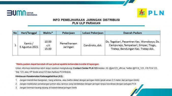 Info Pemeliharaan Jaringan PLN ULP Parakan Temanggung Kamis 5 Agustus 2021