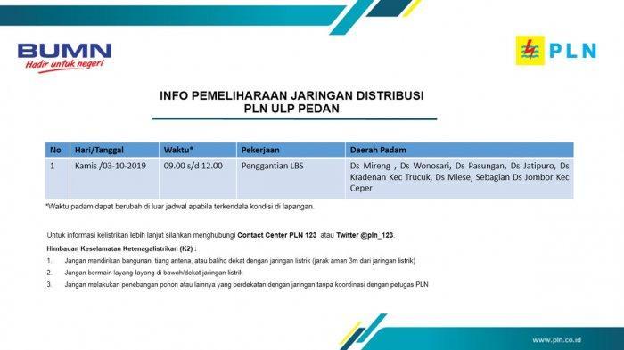 Info Pemeliharaan Jaringan Listrik PLN ULP Pedan Klaten Besok, Kamis 3 Oktober 2019