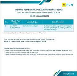 Info Pemeliharaan Jaringan PLN ULP Pedan Klaten Kamis 14 Januari 2021