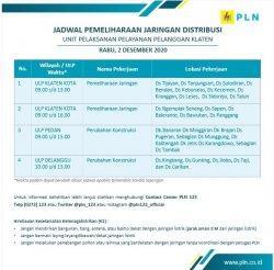 Info Pemeliharaan Jaringan Listrik PLN ULP Delanggu Klaten Rabu 2 Desember 2020