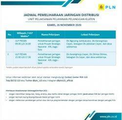 InfoPemeliharaan Jaringan Listrik PLN ULPPedan Klaten Kamis26 November 2020