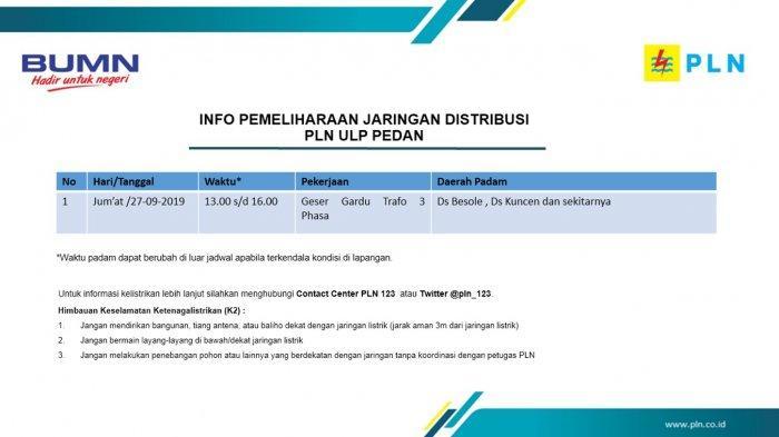 Info Pemeliharaan Jaringan Listrik PLN ULP Pedan Klaten Hari Ini, Jumat 27 September 2019