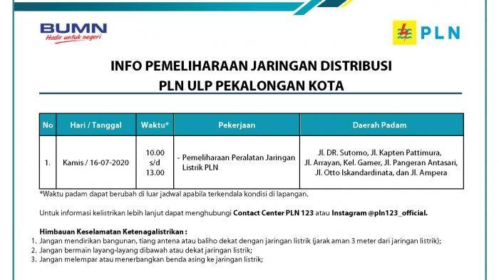 Info Pemeliharaan Jaringan Listrik PLN ULP Pekalongan Kota, Kamis 16 Juli 2020