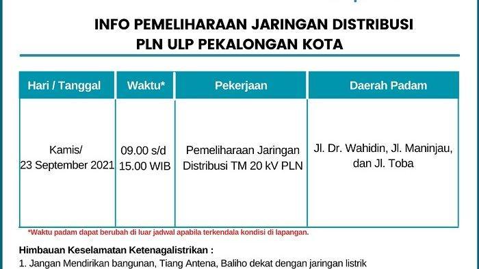 Info Pemeliharaan Jaringan Listrik PLN ULP Pekalongan Kota Kamis 23 September 2021