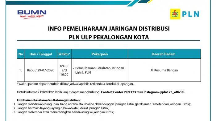 Info Pemeliharaan Jaringan Listrik PLN ULP Pekalongan Kota, Rabu 29 Juli 2020
