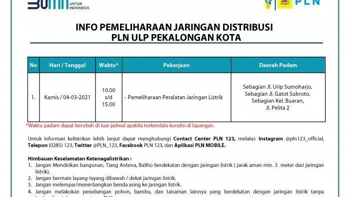 Info Pemeliharaan Jaringan Listrik PLN ULP Pekalongan Kota Kamis 4 Maret 2021