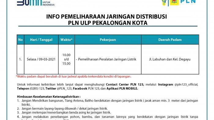Info Pemeliharaan Jaringan Listrik PLN ULP Pekalongan Kota Selasa 9 Maret 2021