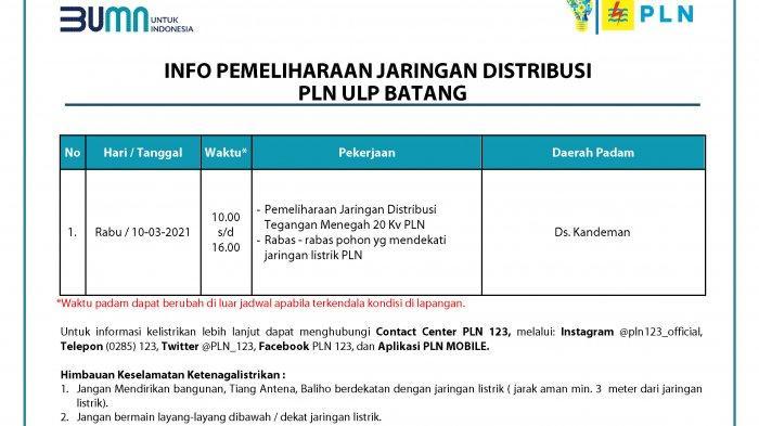 Info Pemeliharaan Jaringan Listrik PLN ULP Batang Rabu 10 Maret 2021