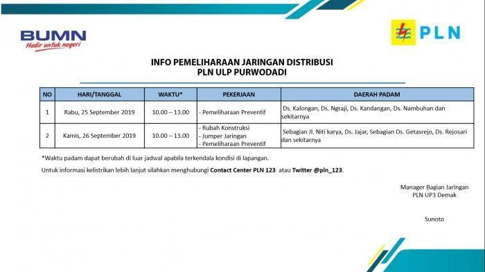 Info Pemeliharaan Jaringan Listrik PLN ULP Purwodadi Besok, Kamis 26 September 2019