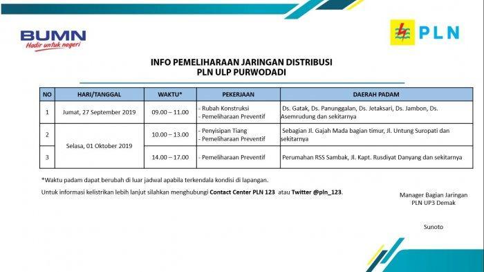 Info Pemeliharaan Jaringan Listrik PLN ULP Purwodadi Hari Ini, Jumat 27 September 2019