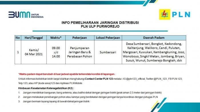 Info Pemeliharaan Jaringan Listrik PLN ULP Purworejo Kamis 4 Maret 2021