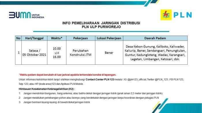 Info Pemeliharaan Jaringan Listrik PLN ULP Purworejo Selasa 5 Oktober 2021