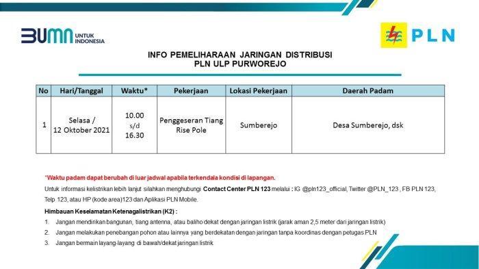 Info Pemeliharaan Jaringan Listrik PLN ULP Purworejo Selasa 12 Oktober 2021