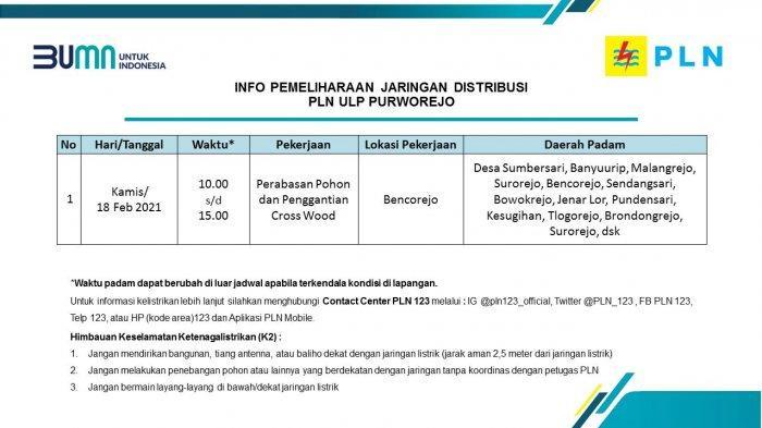 Info Pemeliharaan Jaringan Listrik PLN ULP Purworejo Kamis 18 Februari 2021