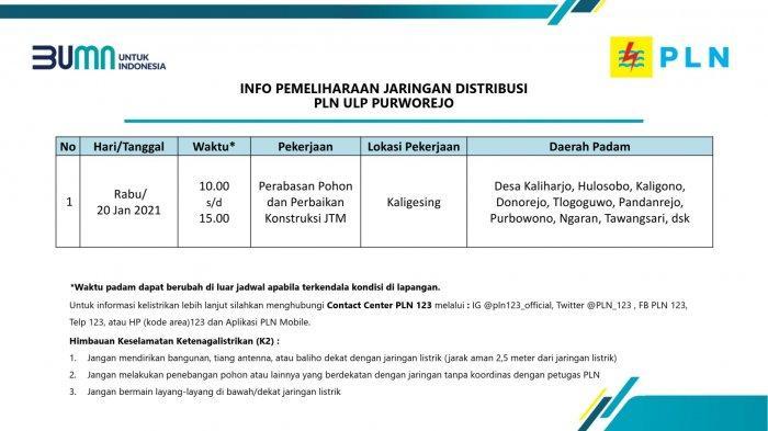 Info Pemeliharaan Jaringan Listrik PLN ULP Purworejo Rabu 20 Januari 2021