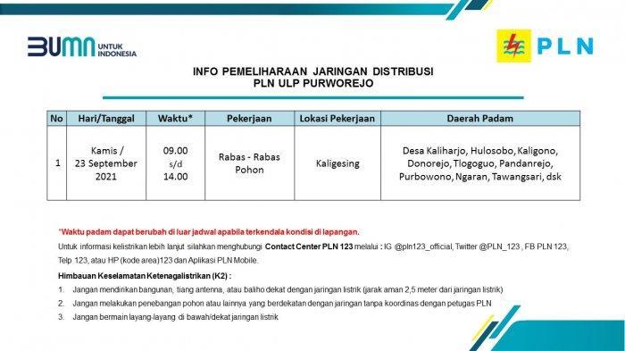 Info Pemeliharaan Jaringan Listrik PLN ULP Purworejo Kamis 23 September 2021