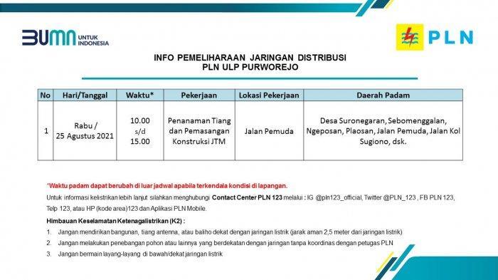Info Pemeliharaan Jaringan Listrik PLN ULP Purworejo Rabu 25 Agustus 2021