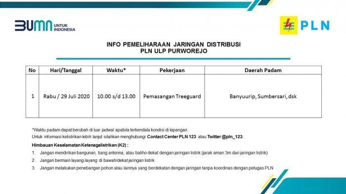 Info Pemeliharaan Jaringan PLN ULP Purworejo Rabu 29 Juli 2020
