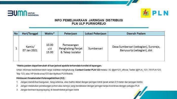 Info Pemeliharaan Jaringan Listrik PLN ULP Purworejo Kamis 7 Januari 2021
