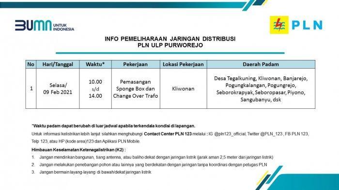 Info Pemeliharaan Jaringan Listrik PLN ULP Purworejo Selasa 9 Februari 2021