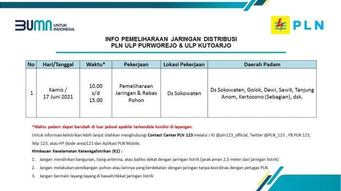 Info Pemeliharaan Jaringan Listrik PLN ULP Purworejo & ULP Kutoarjo Kamis 17 Juni 2021
