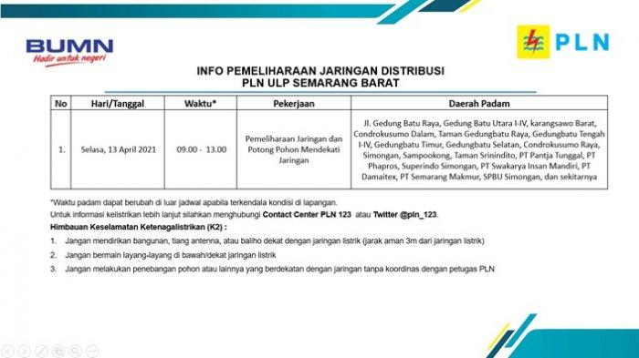 Info Pemeliharaan Jaringan Listrik Dong Batu Simongan PLN ULP Semarang Barat Selasa 13 April 2021