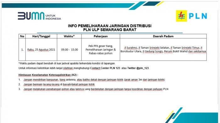 Info Pemeliharaan Jaringan Listrik PLN ULP Semarang Barat Selasa 25 Agustus 2021