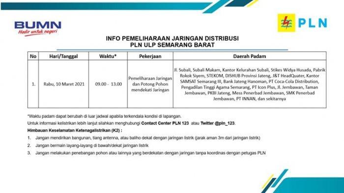 Info Pemeliharaan Jaringan Listrik Subali PLN ULP Semarang Barat Rabu 10 Maret 2021