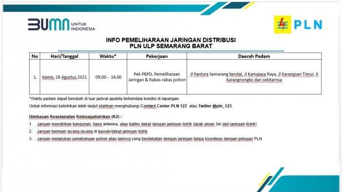 Info Pemeliharaan Jaringan Listrik Pantura PLN ULP Semarang Barat Kamis 26 Agustus 2021