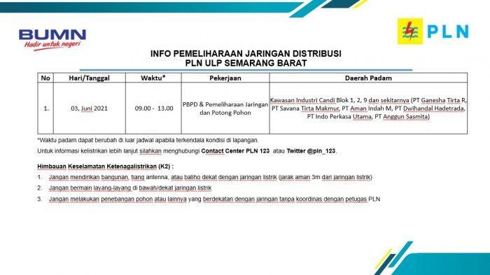 Info Pemeliharaan Jaringan Listrik PLN ULP Semarang Barat  Kamis 3 Juni 2021