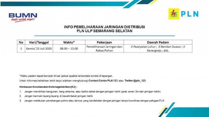 Info Pemeliharaan Jaringan Listrik Bendan PLN ULP Semarang Selatan Kamis 23 Juli 2020