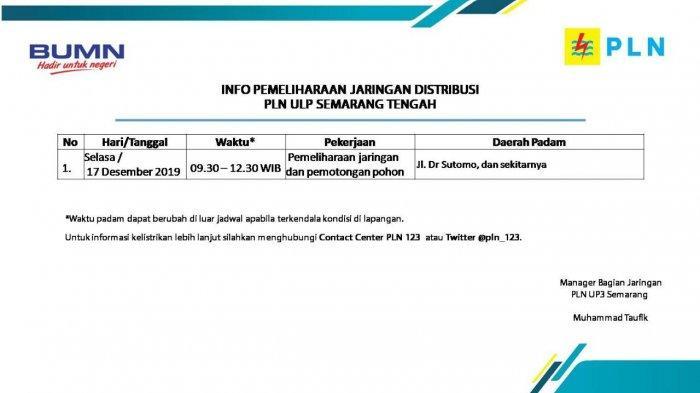 Info Pemeliharaan Jaringan Listrik PLN ULP Semarang Tengah Hari Ini, Selasa 17 Desember 2019
