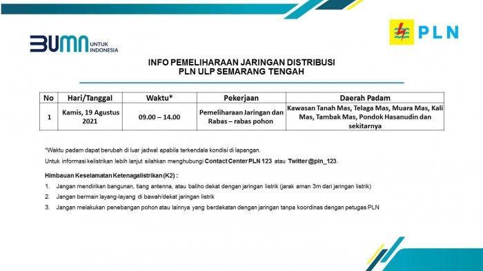 Info Pemeliharaan Jaringan Listrik PLN ULP Semarang Tengah Kamis 19 Agustus 2021
