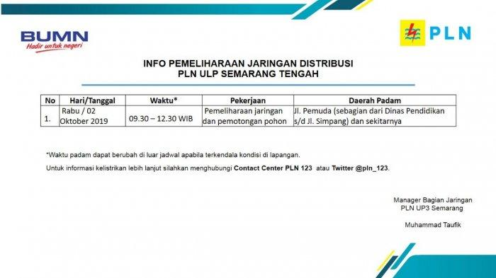 Info Pemeliharaan Jaringan Listrik PLN ULP Semarang Tengah Hari Ini, Rabu 2 Oktober 2019