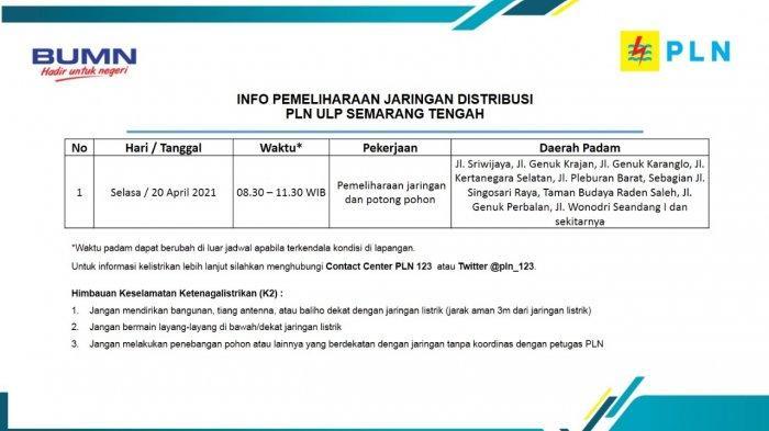 Info Pemeliharaan Jaringan Listrik Sriwijaya PLN ULP Semarang Tengah Selasa 20 April 2021