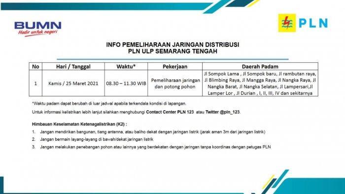 Info Pemeliharaan Jaringan Listrik PLN ULP Semarang Tengah Kamis 25 Maret 2021