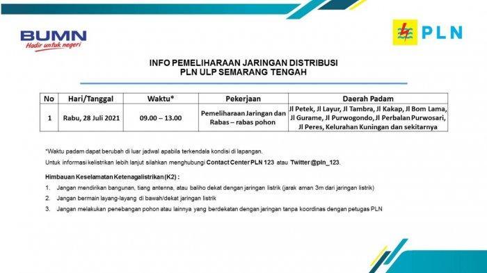 Info Pemeliharaan Jaringan Listrik Kuningan PLN ULP Semarang Tengah Rabu 28 Juli 2021