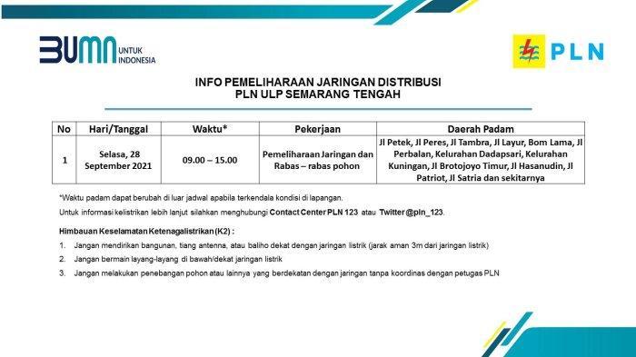 Info Pemeliharaan Jaringan Listrik Kuningan PLN ULP Semarang Tengah Selasa 28 September 2021