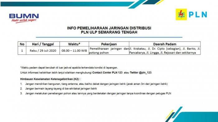 Info Pemeliharaan Jaringan Listrik Jalan Krakatau PLN ULP Semarang Tengah Rabu 29 Juli 2020
