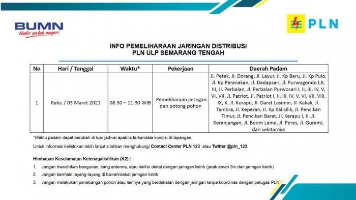 Info Pemeliharaan Jaringan Listrik Perbalan Purwosari PLN ULP Semarang Tengah Rabu 3 Maret 2021