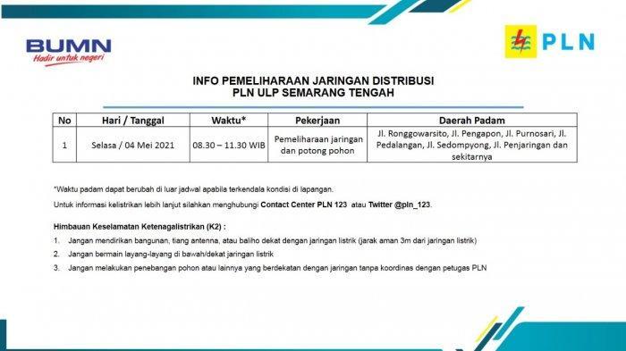 Info Pemeliharaan Jaringan Listrik Pengapon PLN ULP Semarang Tengah Selasa 4 Mei 2021