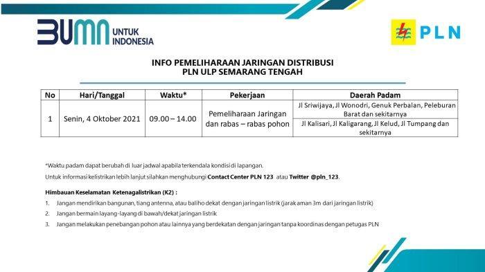 Info Pemeliharaan Jaringan Listrik PLN ULP Semarang Tengah Senin 4 Oktober 2021