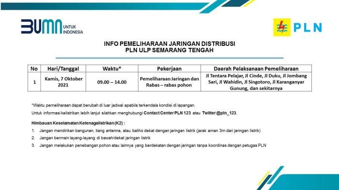 Info Pemeliharaan Jaringan Listrik PLN ULP Semarang Tengah Kamis 7 Oktober 2021