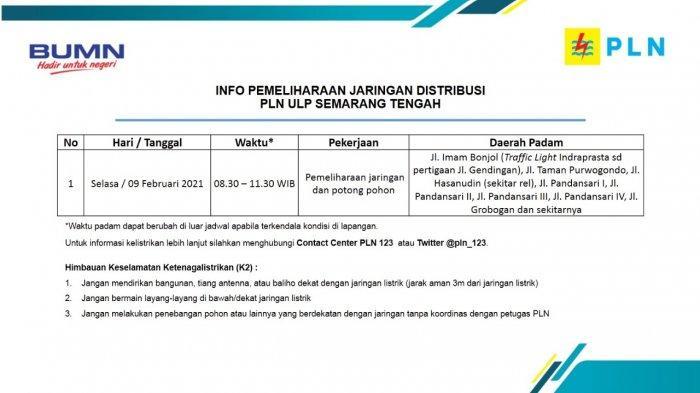 Info Pemeliharaan Jaringan Listrik Jl Imam Bonjol PLN ULP Semarang Tengah Selasa 9 Februari 2021