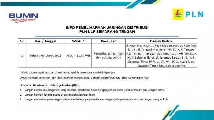 Info Pemeliharaan Jaringan Listrik Tanah Mas PLN ULP Semarang Tengah Selasa 9 Maret 2021