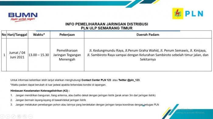 Info Pemeliharaan Jaringan Listrik Kedungmundu Sambiroto PLN ULP Semarang Timur Jumat 4 Juni 2021