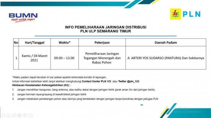 Info Pemeliharaan Jaringan Listrik Yos Sudarso PLN ULP Semarang Timur Kamis 4 Maret 2021