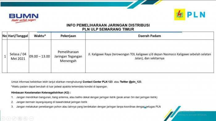 Info Pemeliharaan Jaringan Listrik Kaligawe PLN ULP Semarang Timur Selasa 4 Mei 2021