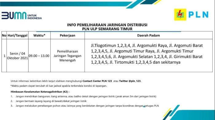 Info Pemeliharaan Jaringan Listrik PLN ULP Semarang Timur Senin 4 Oktober 2021